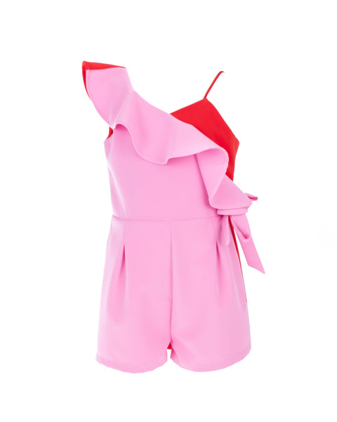 Pink and Red Ruffled Playsuit