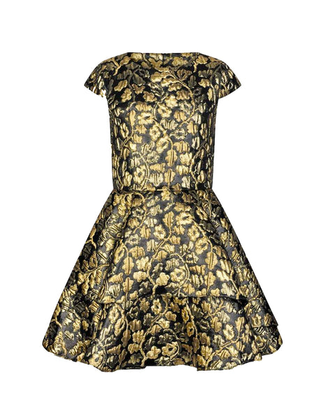 Black and Gold Brocade Dress
