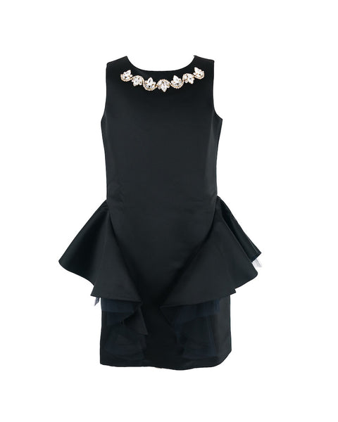 Black Embellished Satin Dress