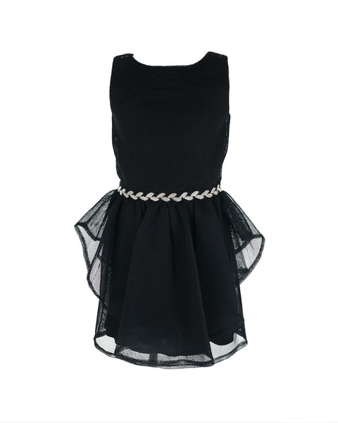 Black Jewel-Embellished Mesh Dress