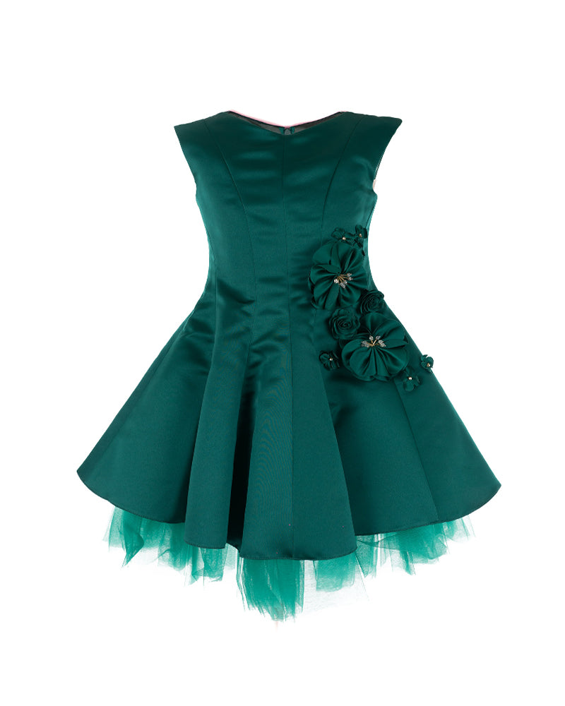 Emerald Green Embellished Satin Dress