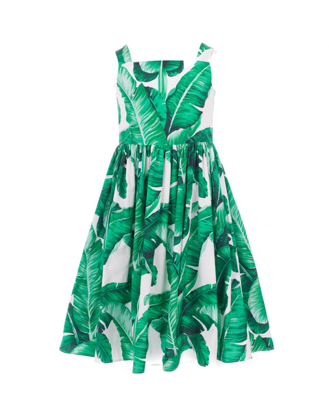 Banana Leaf Print Sleeveless Dress