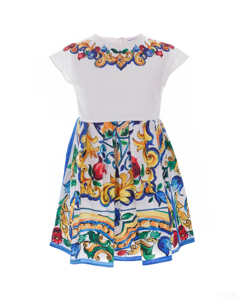 Light Maiolica Print Cotton Dress