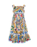 Maiolica Cotton-Poplin Flare Dress