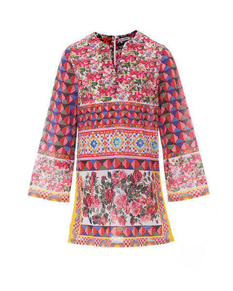 Caretto Con Rose Print Kaftan Dress
