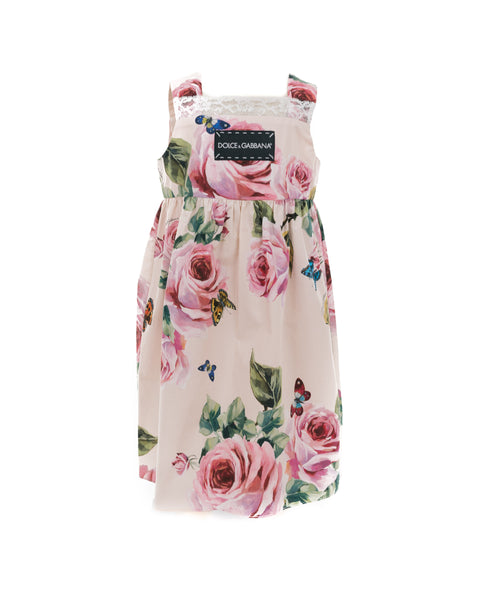 Rose Print Cotton-Poplin Dress