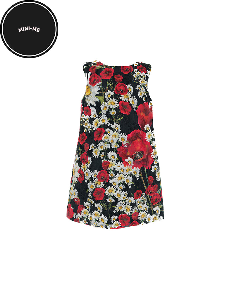 Black Poppy and Daisy Print Shift Dress (3 Years)