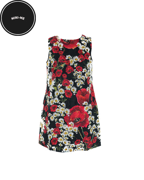 Black Poppy and Daisy Print Shift Dress (7 Years)
