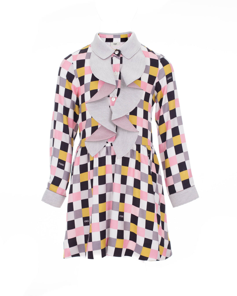 Geometric Print Ruffle-front Shirt Dress