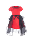 Red Satin Party Dress with Black Chiffon Overskirt