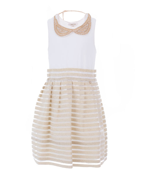 Ecru and Gold Transparent Striped Party Dress