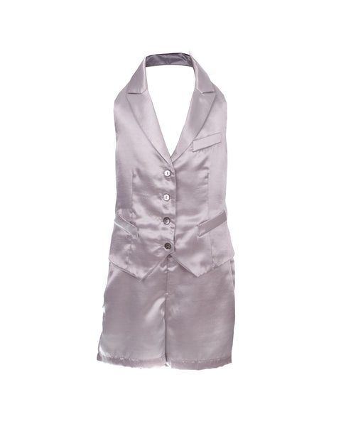 Silver Satin Effect Jumpsuit