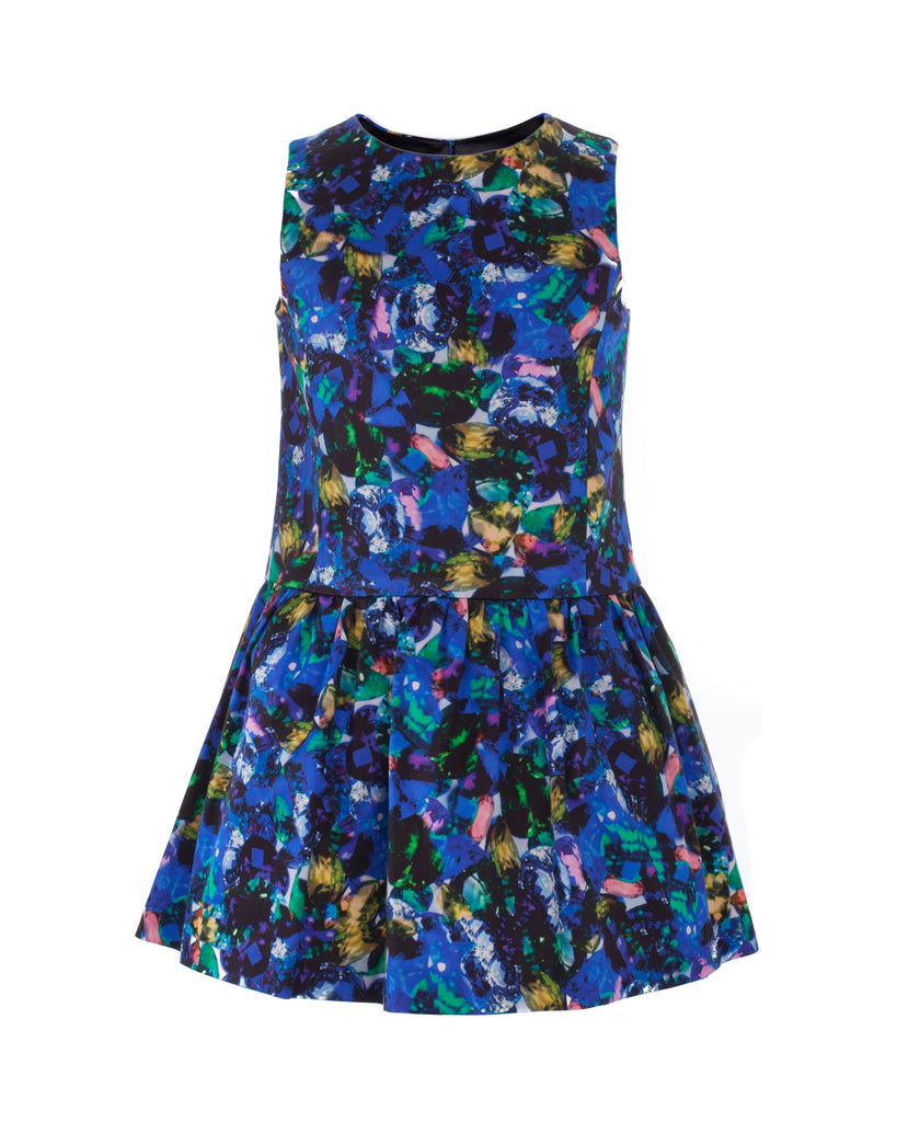 Big Girl Jewel Print Dropwaist Party Dress