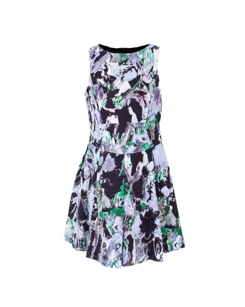 Painted-Floral Print Party Dress