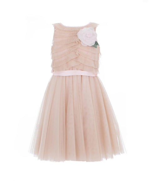 Antique Pink and Beige Corsage Tulle Dress