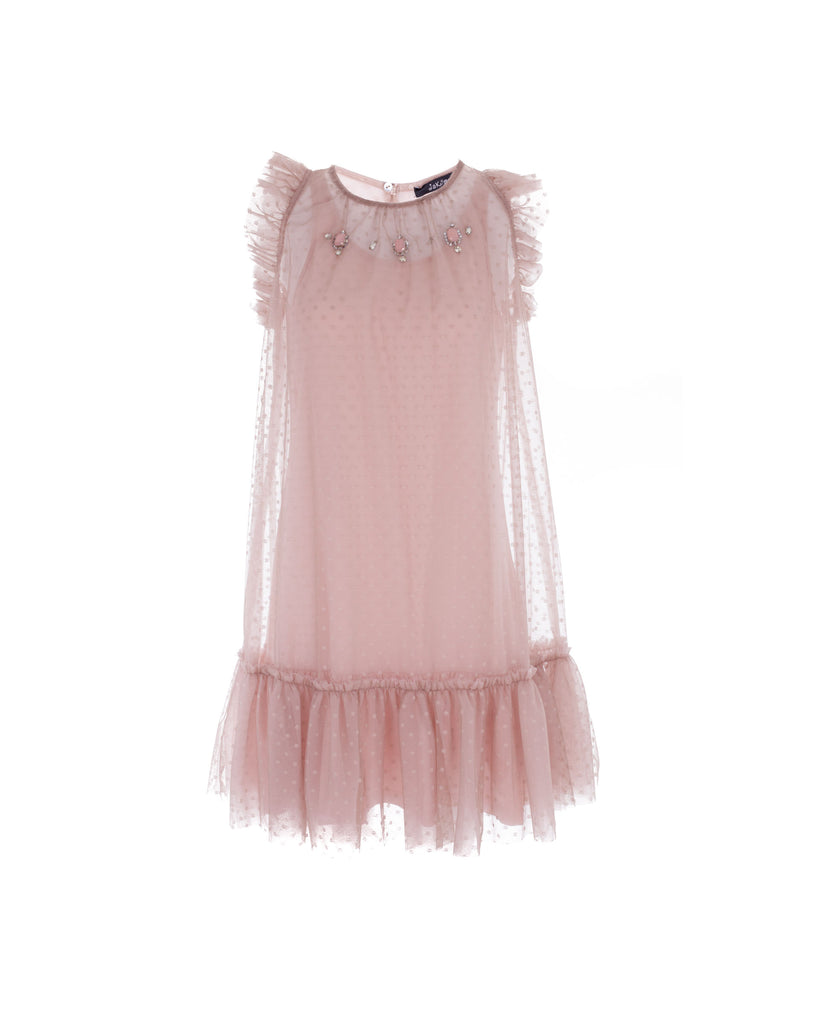 Pale Pink and Beige Frilled Polkadot Dress