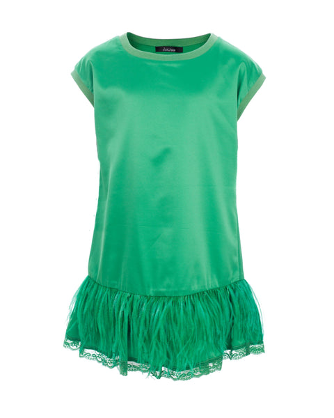 Emerald Green Feather Party Dress