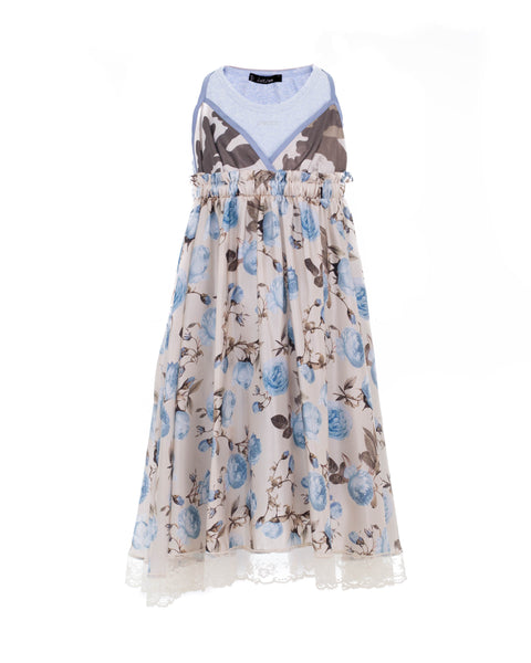 Floral Pattern and Lace Silk Dress