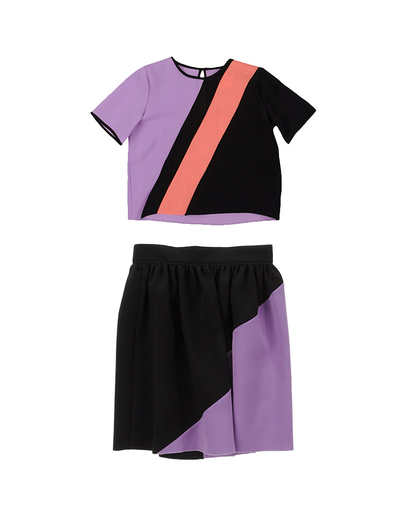 Purple and Coral Colour Block 2-Piece