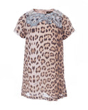 Sky Blue Embroidery Leopard Dress (6 years)