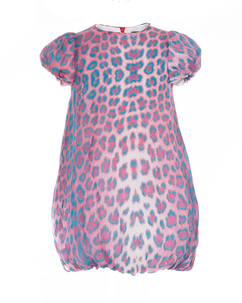 Pink and Turquoise Animal Print Dress (5 years)