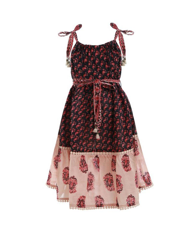 Stamp Printed Tie Dress