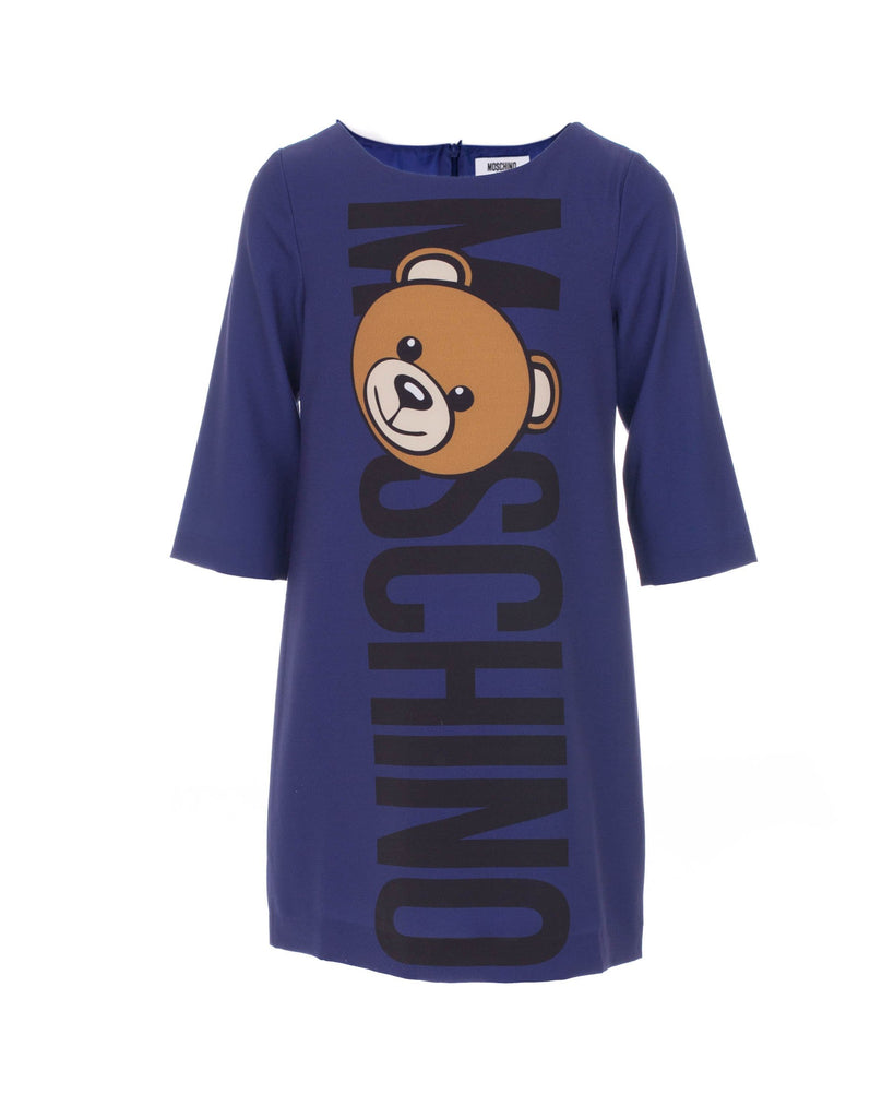 Purple Bear Logo Print Dress