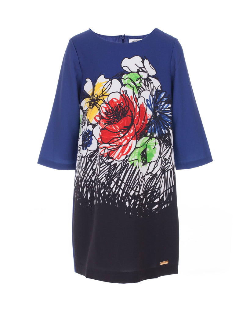 Blue Floral Graphic Print Dress