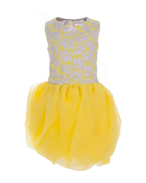 Yellow Tulle Skirt Embroidered Party Dress