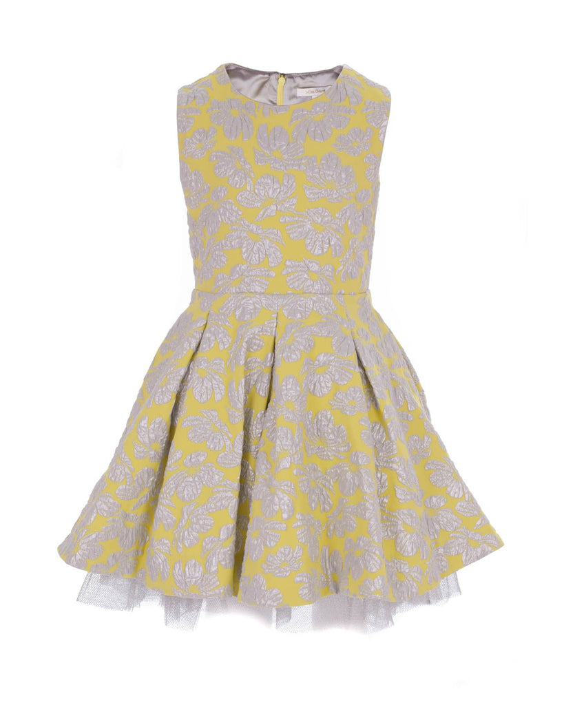 Floral Embroidered Yellow Party Dress