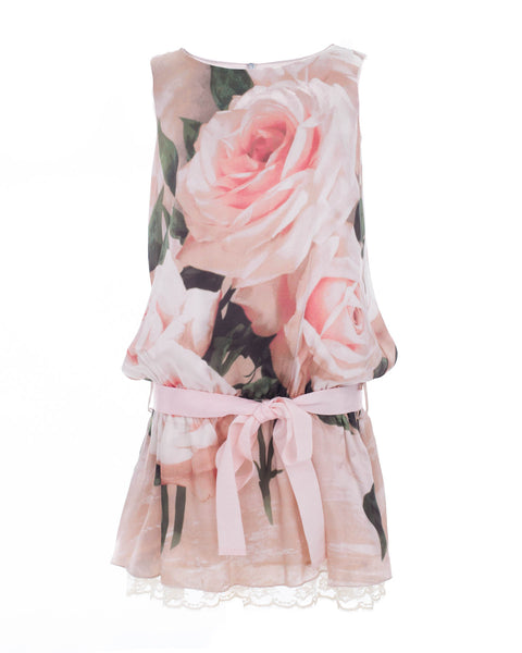Silk Floral Belted Dress