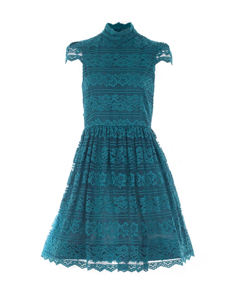 Maureen Teal Lace Dress