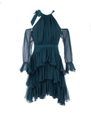 Elsa Ruffled Sleeves Silk-Georgette Mini Dress