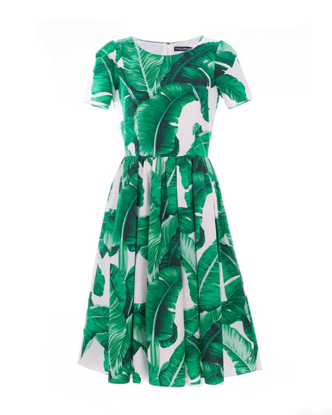 Banana Leaf Print Cotton Poplin Dress