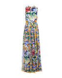 Maiolica Print Slik Maxi Dress