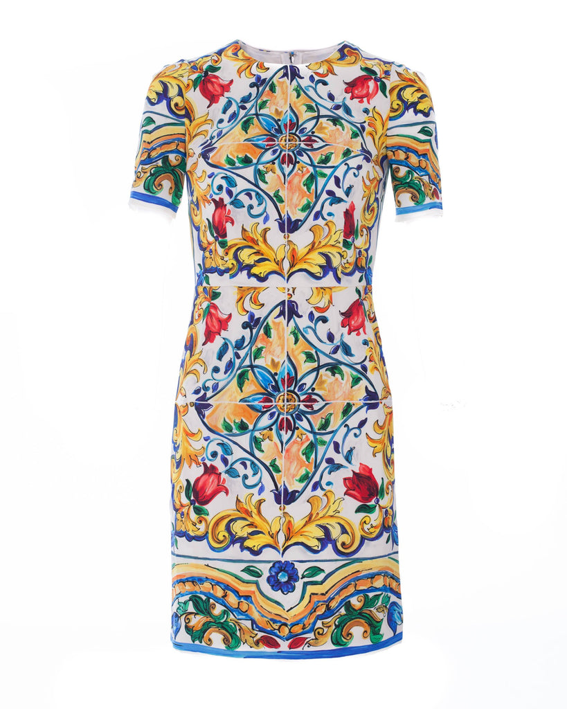 Maiolica Print Slik-Blend Dress