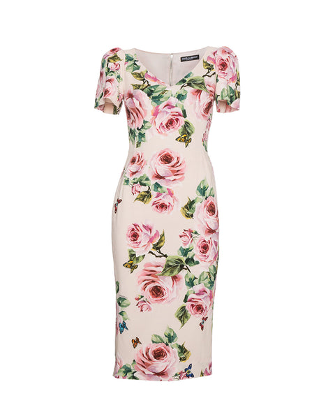 Rose-print Stretch-Cady Dress