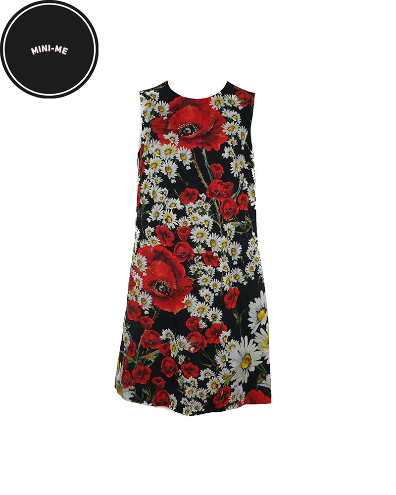 Black Poppy and Daisy Jacquard Dress