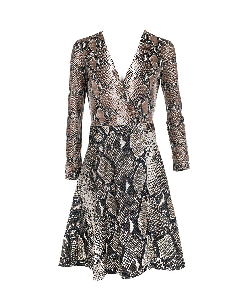 Python Print Silk-Jersey Wrap Dress