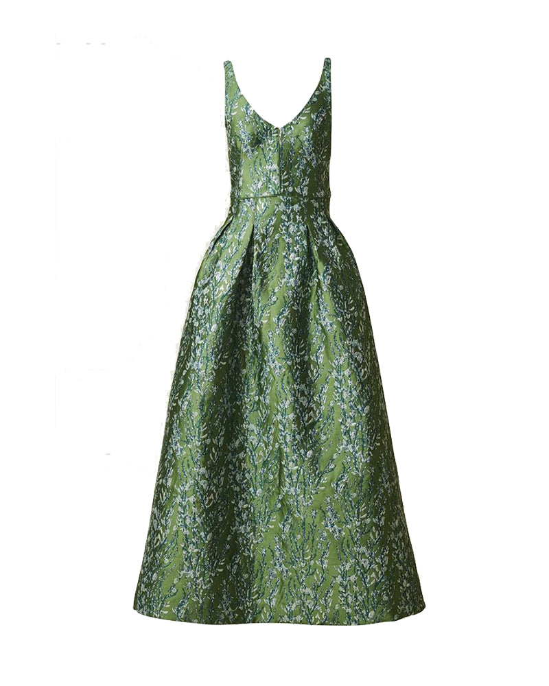Jacquard Green Dress