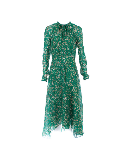 Printed Long-Sleeve Silk Dress