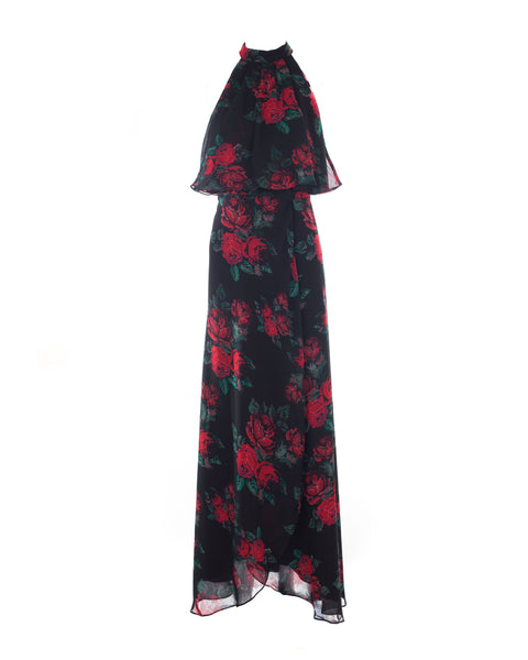 Golden Ray Rose Print Maxi Dress