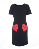 Honeycomb Black Love Pocket Dress