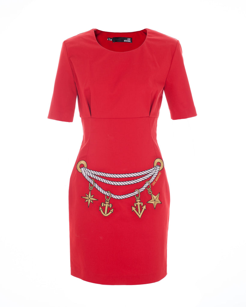 Embroidered Motif Red Dress