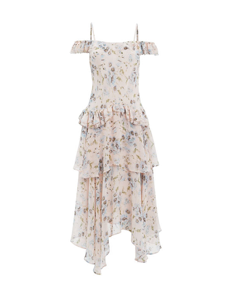Floral Ruffle Cold-shoulder Dress