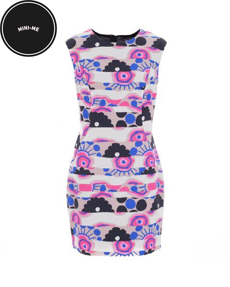 Banded Floral Print Sheath Dress