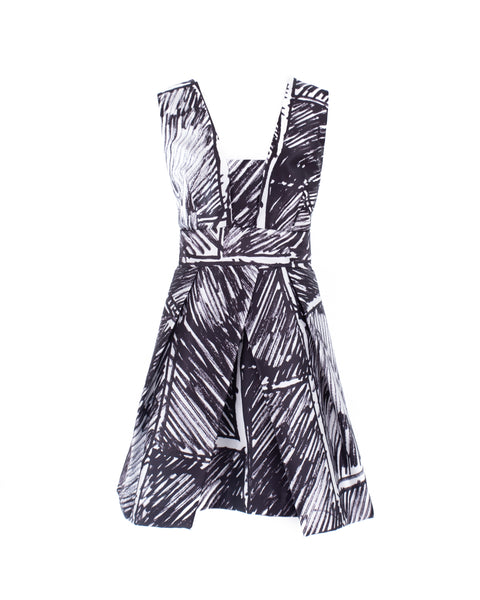 Elisa Scribble Print Party Dress