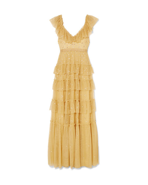 Sunburst Yellow Embellished Tulle Gown