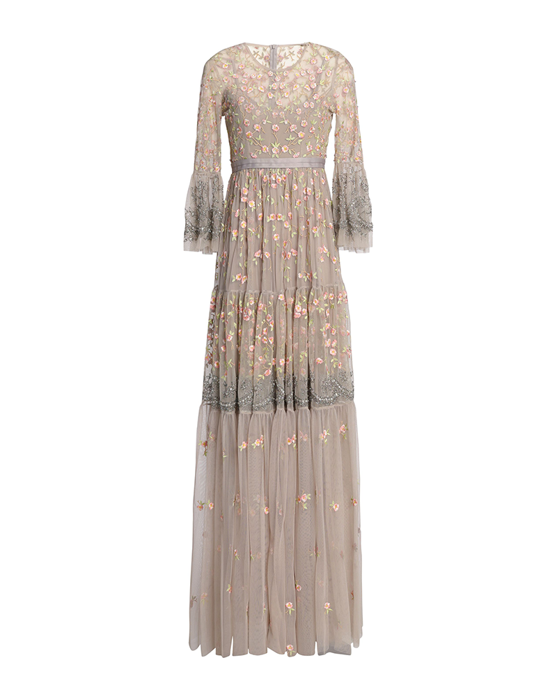 Floral Embroidered Sequin Long-sleeved Gown
