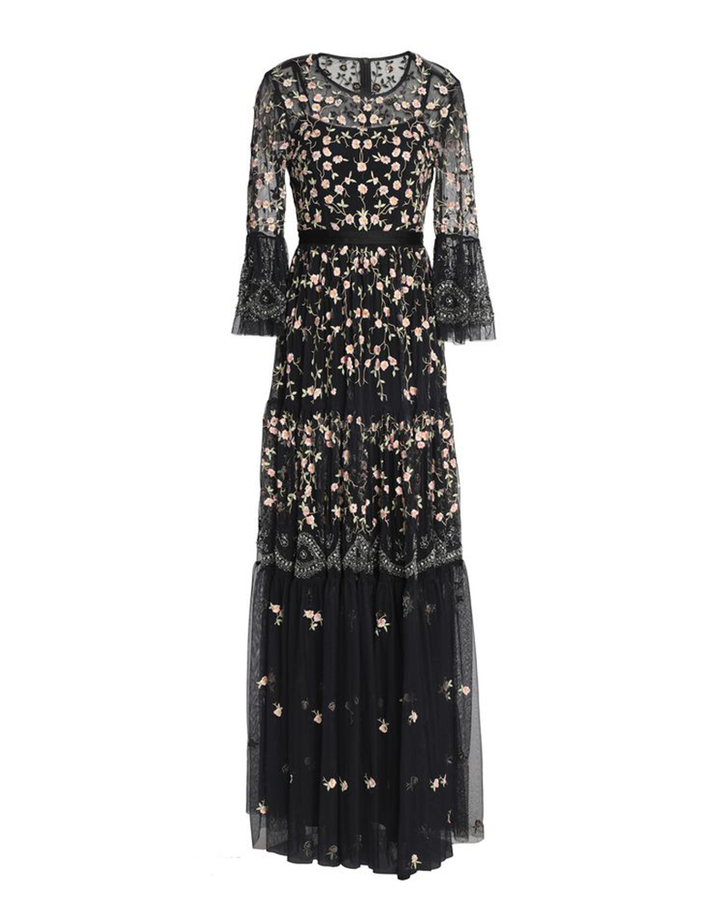 Black Floral Embroidered Sequin Long-sleeved Gown